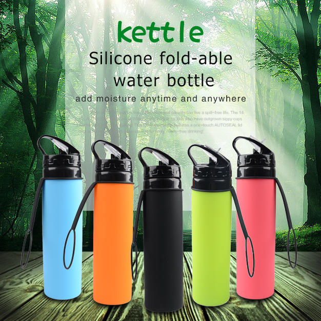 Silicone squeeze water bottle
