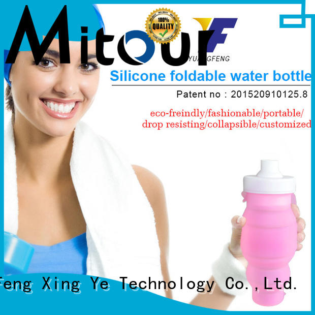 Mitour Silicone Products folding collapsible silicone water bottle for water storage