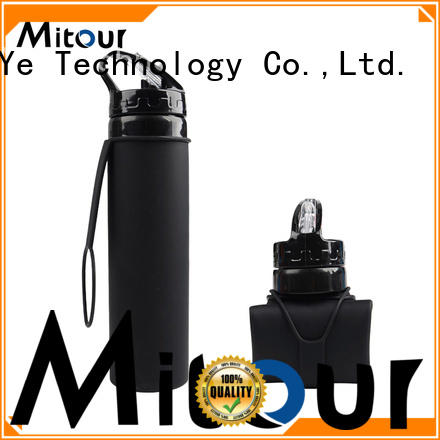 Mitour Silicone Products foldable collapsible silicone water bottle outdoor for water storage