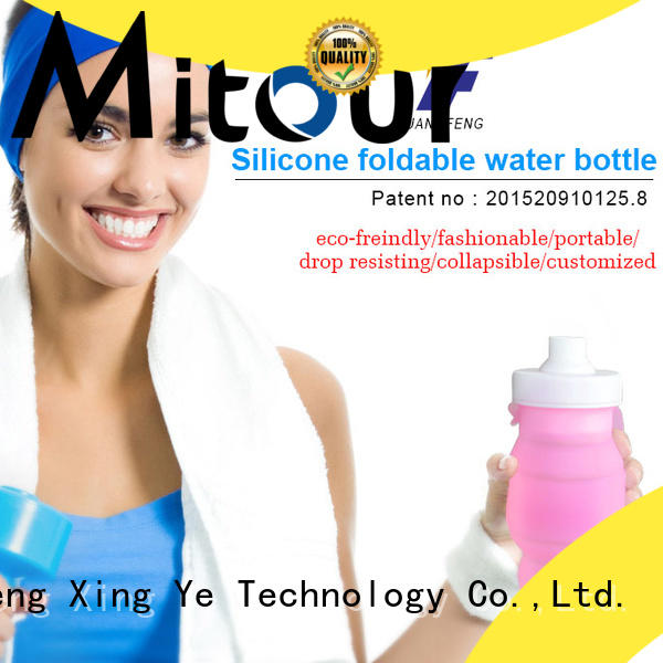 Mitour Silicone Products collapsible foldable silicone water bottle for children