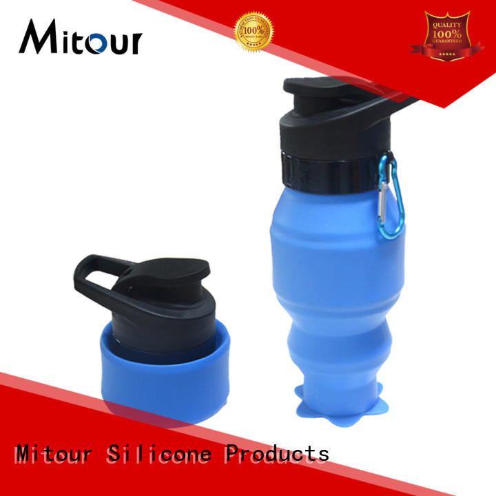 Mitour Silicone Products straight foldable silicone water bottle sports for water storage