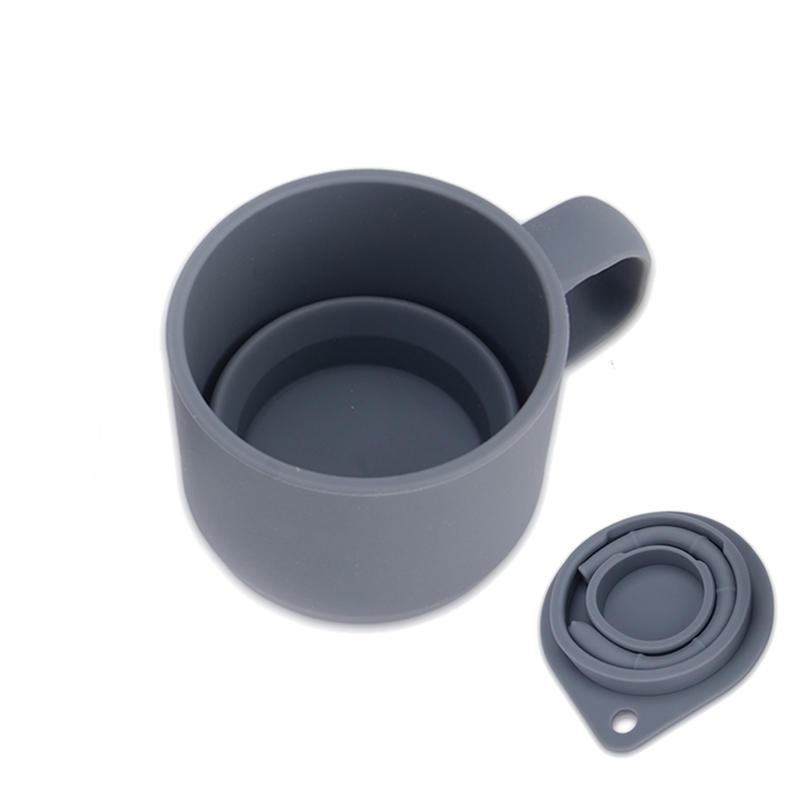 Folding Silicone Mug Collapsible Office Coffee Cup With Straw Lid
