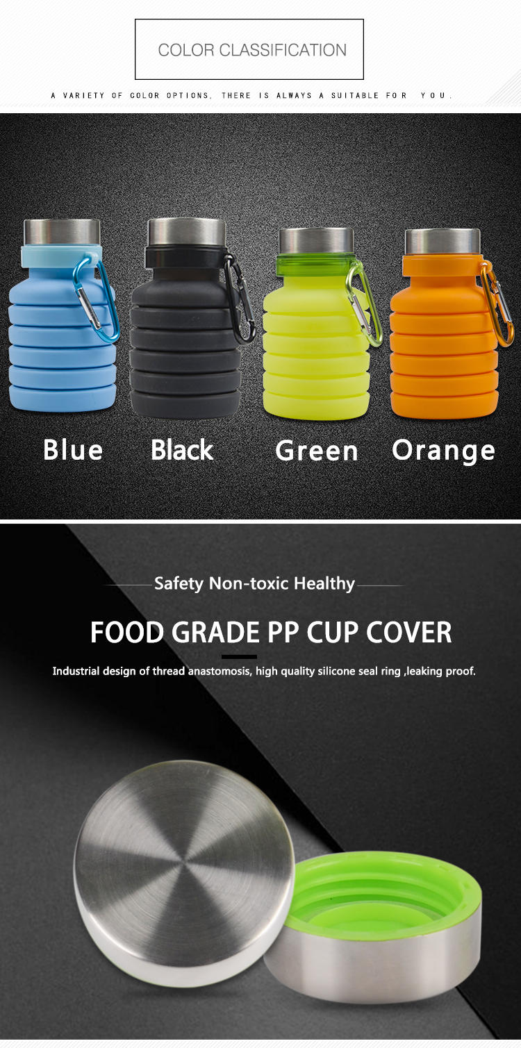 folding silicone water bottle bulk production for children-3